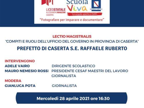Il Prefetto di Caserta Raffaele Ruberto in cattedra al liceo Manzoni